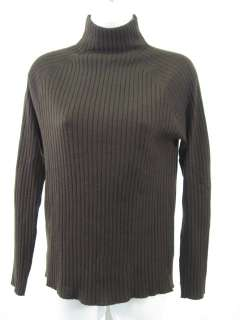 DKNY Brown Ribbed Turtleneck Sweater Top Size M