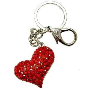 Acosta Jewellery   Red & Clear Crystal Heart   Bag Charm