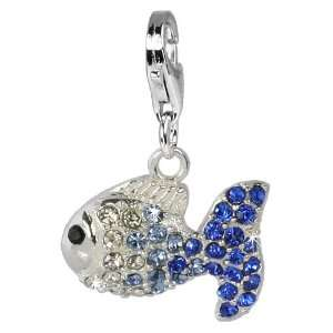 fish ICE blue, 925 Sterling Silver Charms Pendant with Lobster
