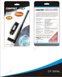 Wireless N WiFi USB Adapter 802.11 bgn 300Mbps 5dBi+Antenna High Gain
