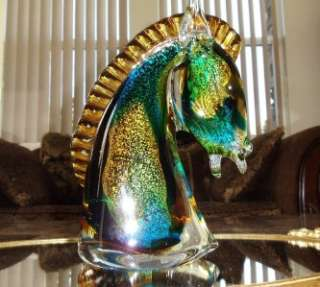 Wow! Hard Find Lg Murano Art Glass Colorfull Horse Head