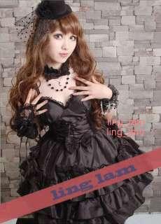 Dolly Gothic Punk Lolita Party Dress+necklace 61182 BLK Size L