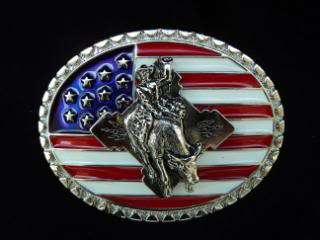 CHAMPION BULL RIDER RODEO BELT BUCKLE STARS & STRIPES