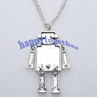 Fashion Cute Heart Love Mosaic Robot Necklace Pendant Chain J0118