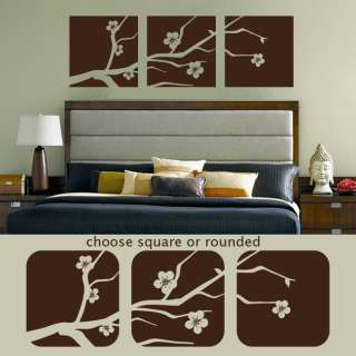 Cherry Blossom Branch Panel Squares Wall Decal Stickers