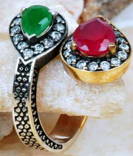 Ancient Art Antique Style RUBY & EMERALD Silver 925 ring  