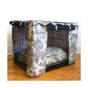 Black Toile Dog Crate Cover