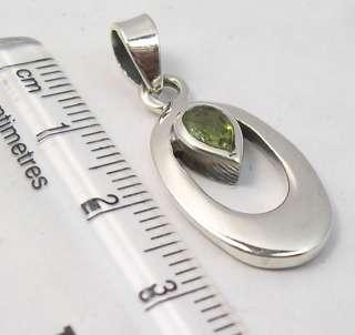 925 Silver GREEN PERIDOT Inexpensive New Pendant 3CM