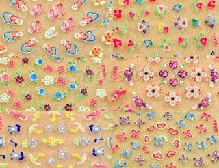 50x 3D Design Tip Nail Art Sticker Decal Manicure Mix