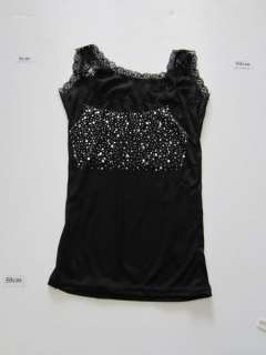 Korea Fashion Women/lady lace tops/Vests Black