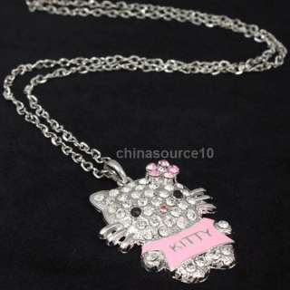 hello kitty cat swarovski crystals girl chain necklace CN2773