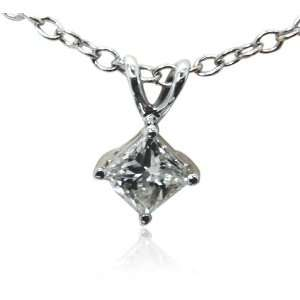 Certified 14k White Gold Princess Cut Pendant Necklace (.75 ct, H I