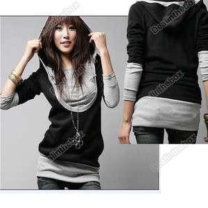 New Korea Womens Big U Brought Long Sleeve Cotton Tops Dress Hoodie