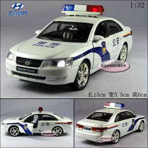 New Hyundai Police Car 1:32 Alloy Diecast Model Car With Sound&Light