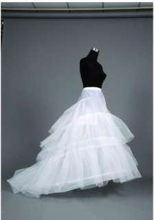 Stock Train Style White Wedding Dress Bridal Evening Gown Size 6 8 10