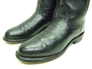 WOMENS LARRY MAHAN BLACK OSTRICH ROPER COWBOY BOOTS 5B 5 B