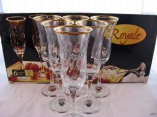 NEW Set/6 Royale 24kt Gold Rim Champagne Flutes Glasses NIB