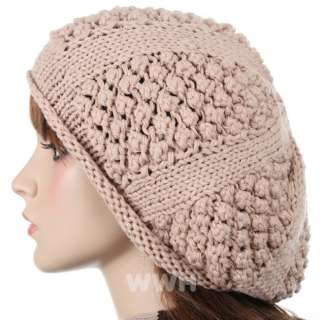 Charm Style Beret Knit Beanie Hat Crochet Winter be681k