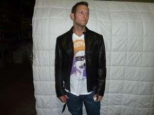 489 Andrew Marc BLACK LEATHER BASEBALL JACKET COAT AM0A1001 XXLARGE