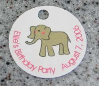 20 Round Elephant Favors Gift Tags   Birthday Party
