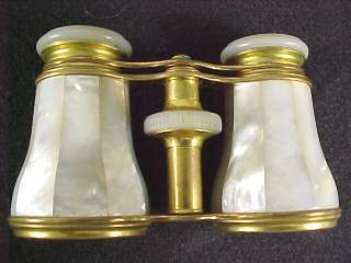 1920s Lemaire Paris Opera Glasses Brass Mother of Pearl