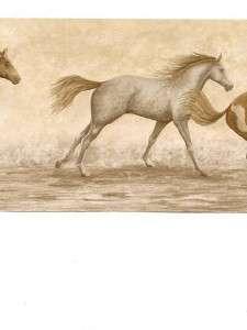 Wallpaper Border Running Wild Horses on Cream