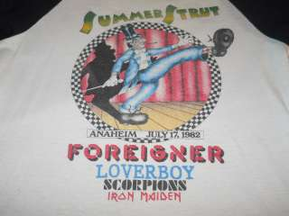 vintage 1982 SUMMER STRUT FOREIGNER IRON MAIDEN t shirt L