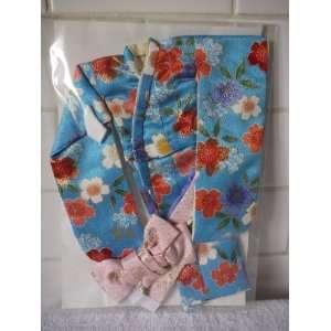 Turquoise Floral Silk Kimono   Japanese Traditional Dress