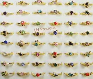 wholesale Jewelry lots 50pcs rhinestone gold Plated Rings New free