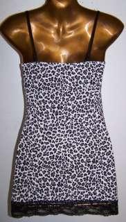 Leopard Black/White Lace Chemise Babydoll Cotton Top L