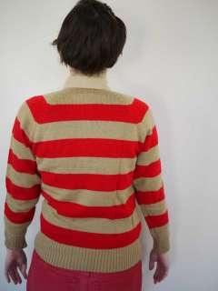Vtg 70s Punk Stripe Knit Boyfriend Sweater Shirt S