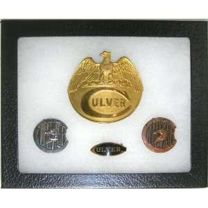 Vintage Culver Military Academy Cap Insignia & Pins in Riker Display