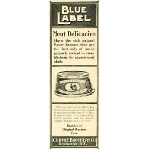 1907 Ad Curtice Brothers Blue Label Canned Meat Rooster