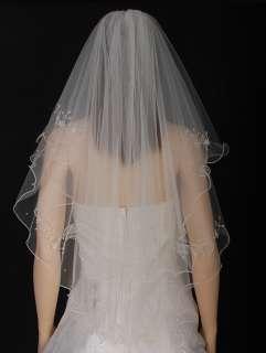 2T White/ Ivory Wedding Bridal Veil Beads Flowers s45