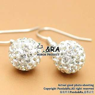 White Style Disco Ball Swarovski Crystal Bead Earring Studs Dangler