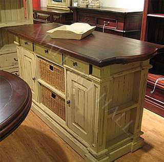 Solid Mahogany Wood Kitchen Island with Baskets Painted or Stain