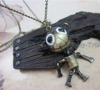 Retro Cute Big Mouth Frog Robot Pendant Necklace NL_21
