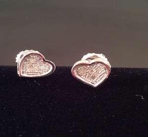 925 Sterling Silver Diamond Ladies Heart Shaped Stud Earrings
