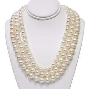 com 3, White Freshwater Pearl Necklaces with 14K Yellow Gold to Wear