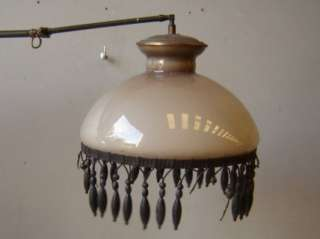 Nice antique bronze & glass hanging lamp # 01927 |