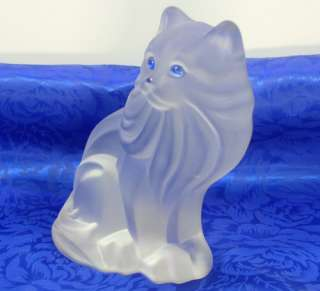 Satin Crystal/Frosted Glass Blue Eyed Kitty Cat/Kitten Figurine/Book