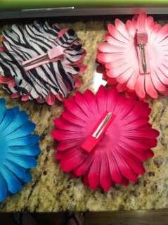 DAISY FLOWER RHONESTONE CENTER HAIR BOW ACCESSORY CLIP CHOOSE COLOR