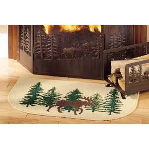 Moose Hearth Rug, Cabin Fireplace and Wood Stove Rug