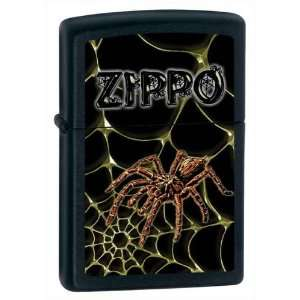 Zippo Custom Lighter   Spider on Web Black Matte Logo