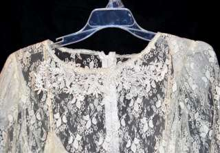 Vintage White Silk Slip Style Long Dress Covered In Lace W/ Pixie