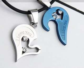 Men Women Couple Necklace Heart Pendant Stainless Steel