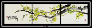 Oriental painting (Cherry blossoms) Set of 3 horizontal