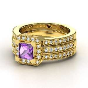 Va Voom Ring, Princess Amethyst 14K Yellow Gold Ring with