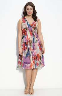 Adrianna Papell Pleated Floral Silk Dress (Plus)