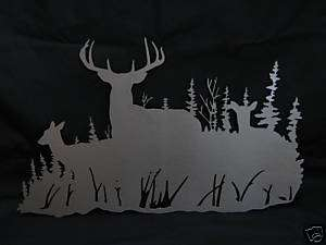 Plasma art buck with does deer scene wall hanging